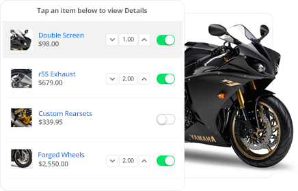CPQ app for motorcycles