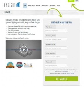 Sign Up Form - Onsight